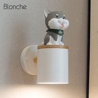 Nordic Wall Lamp Lovely Resin Puppy Deco Sconce Wall Light Fixture for Home Modern Stair Led Light Bathroom Bedroom Bedside Lamp