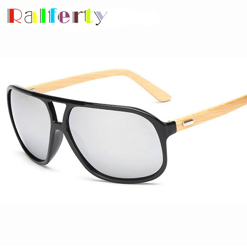 Ralferty Natural Bamboo Sunglasses Men Designer Oversized Mirror UV400 Wooden Pilot Sun Glasses Outdoor Goggles lunette oculos