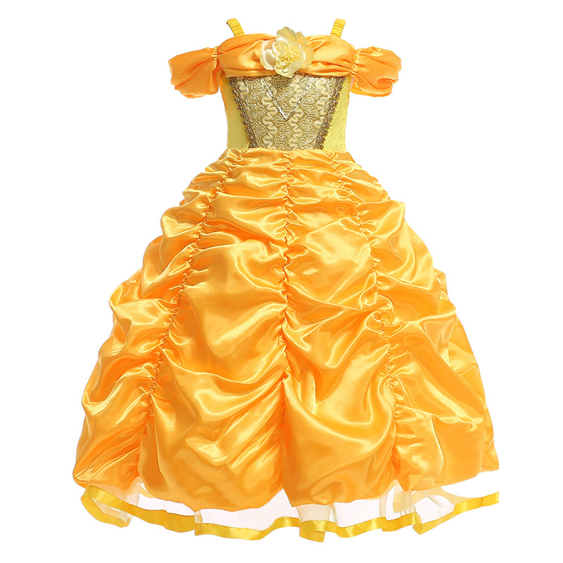 Beauty and The Beast Belle Dresses for Girls Princess Dress Cosplay Costumes Disney Belle Dress Wedding Party Birthday Clothes glittery girls tutu dress elsa belle princess dress girls party dresses pageant gowns baby kids cos beauty and the beast costume