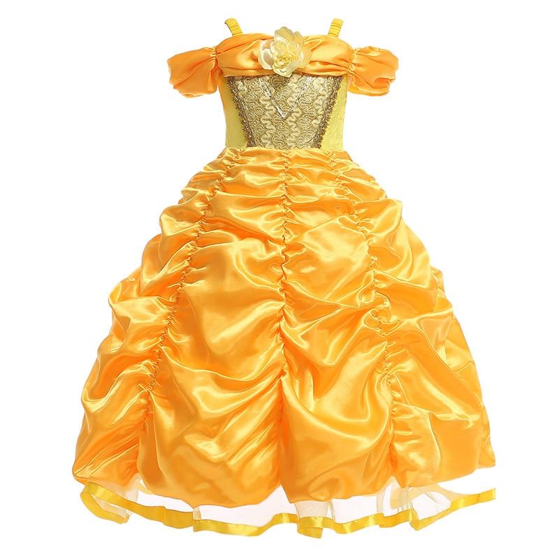253e1bb597a8fc Beste Kopen Schoonheid en Het Beest Belle Jurken voor Meisjes Prinses Jurk  Cosplay Kostuums Disney Belle Dress Wedding Party Verjaardag Kleding  Goedkoop