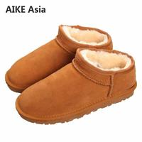 Brands High Quality Australia Winter Women's Snow Boots Cow Split Leather Ankle Shoes Woman Botas Mujer Big Size 34 44
