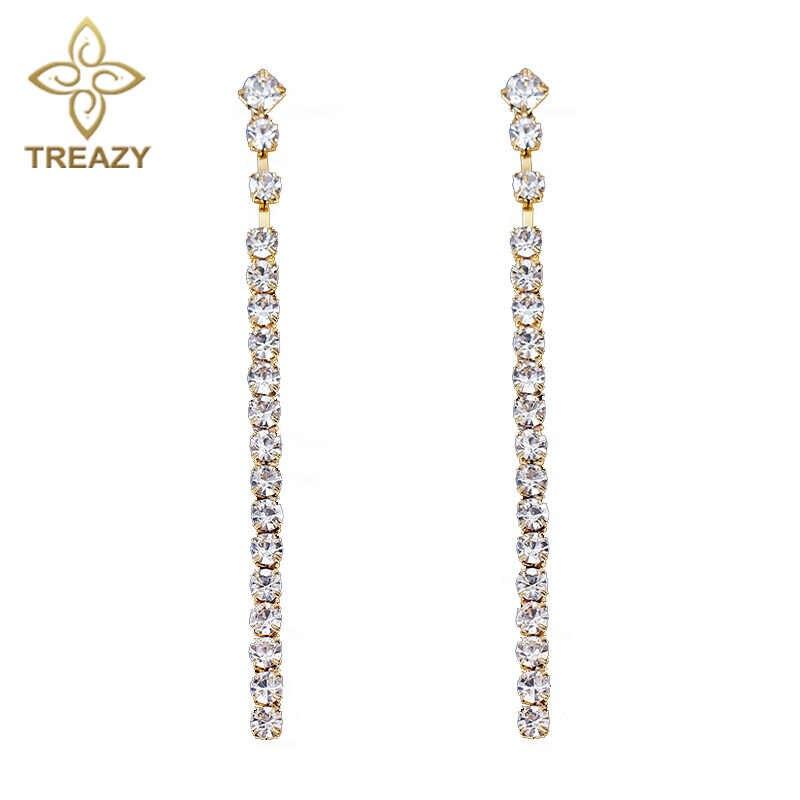 TREAZY シンプルなスタイル結晶ブライダルロングストリップイヤリングゴールドカラーのラインストーンブラブラ女性のウェディングジュエリーギフト