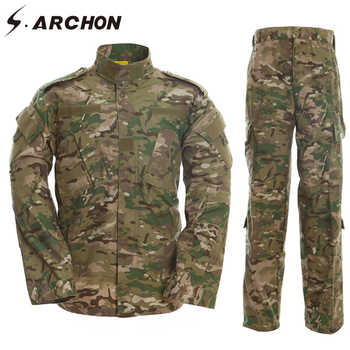 S.ARCHON US RU Army Soldier Military Uniform Set Men Tactical Multicam Camouflage Uniform Clothes Set Paintball Camo Combat Suit - DISCOUNT ITEM  42% OFF All Category