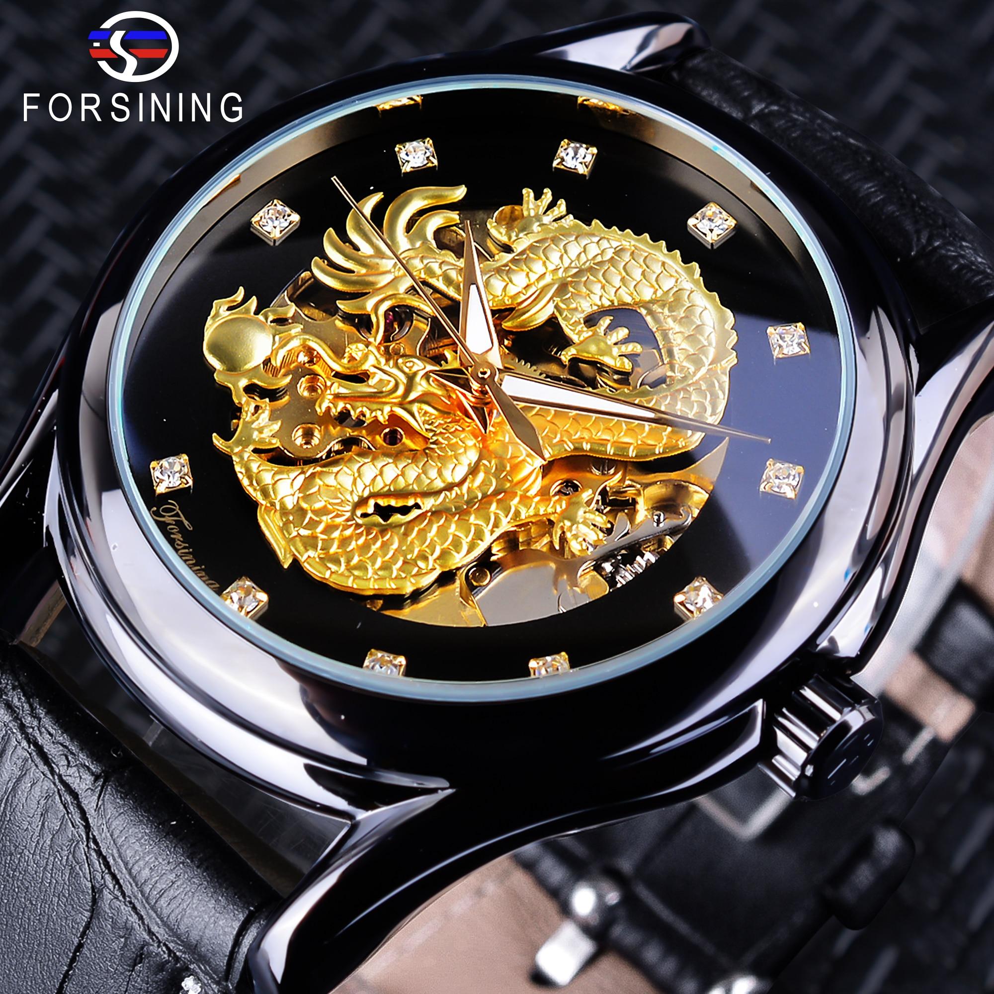 Forsining Chinese Dragon Design Diamond Dial Black Golden Men Watch Luminous Hands Top Brand Luxury Waterproof Mechanical Watch карабин black diamond black diamond rocklock twistlock
