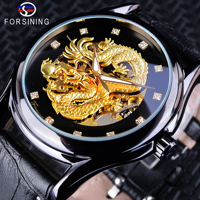 Forsining Chinese Dragon Design Diamond Dial Black Golden Men Watch Luminous Hands Top Brand Luxury Waterproof Mechanical Watch