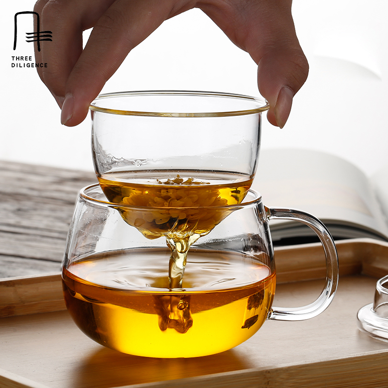 Large Cup Tea Glass Mug Heat Resistant Clear Glass cups With Strainer Filter Cover pot Herbal Floral Tea set cups and mugs
