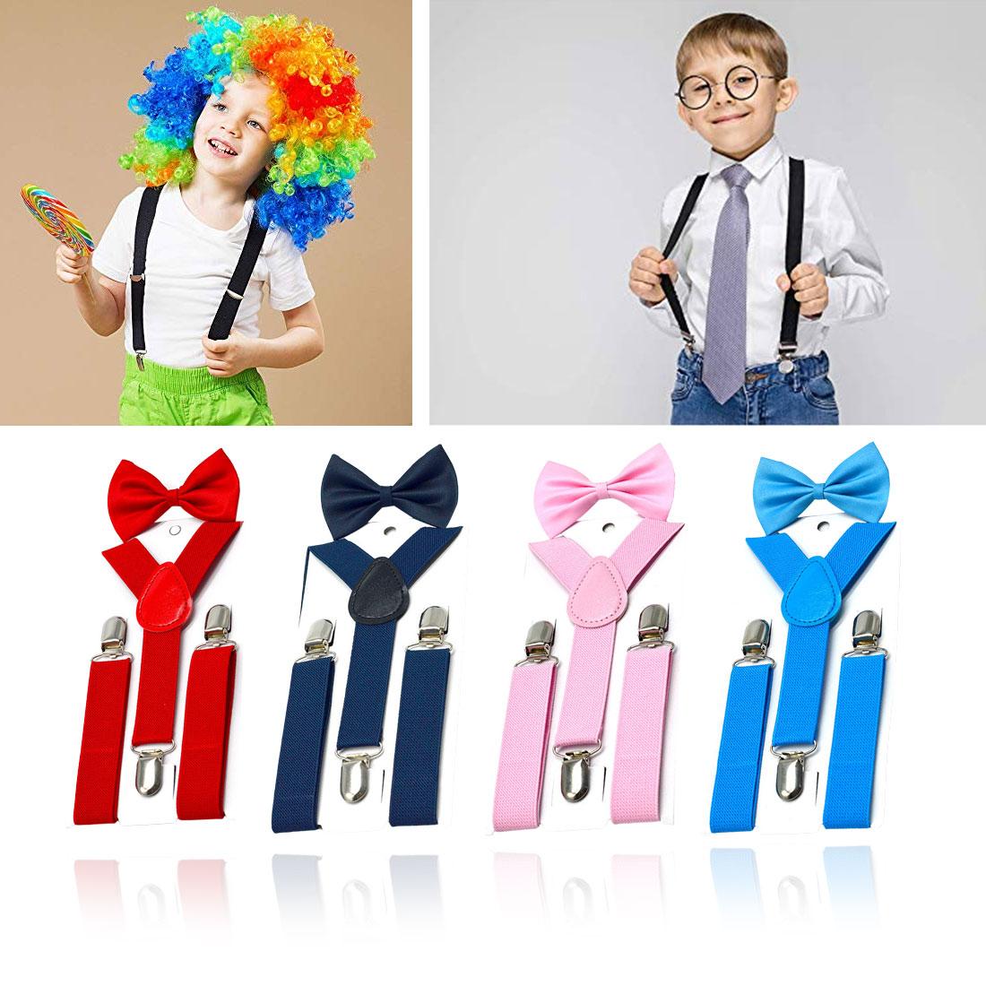 Adjustable Child Kid Elastic Suspender And Cool Bow Tie Matching Tuxedo Brace Belt For Boys Girls Children Costume Accessories
