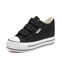 2018 New Style Simple White Shoes, Canvas Comfortable And Breathable Sponge Cake Womens Shoes In Thick Bottom.