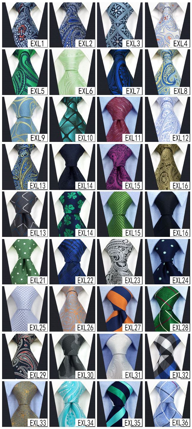 Image 2 - Wholesale Assorted Mens Ties Necktie Extra Long Size 63 inches Free Shipping 100% Silk Wedding Fashion Mixed Lot-in Men's Ties & Handkerchiefs from Apparel Accessories