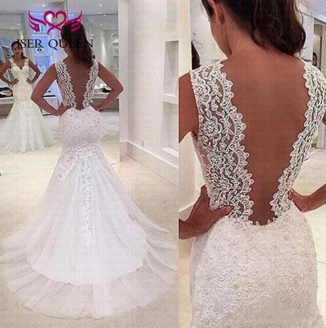 Embroidery Appliques Lace wedding dress Vestido De Noiva Sleeveless V neck Beading Mermaid Wedding Desses Backless w0479