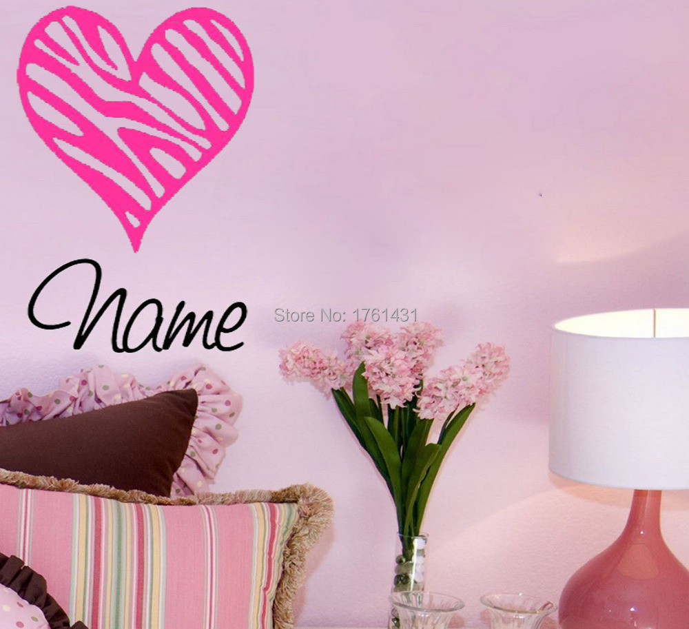 Zebra Print Heart With Name Home Decoration Wall Art Decals Living Room Pictures Bedroom Wallstickers