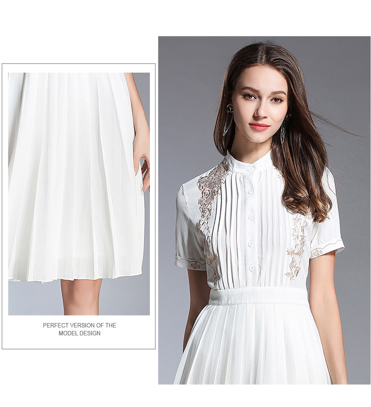 Caidi Kedani High Quality Fashion Women Spring Summer Dress Knee Length Hollow Out Casual Comfortable O Neck Party Dresses in Dresses from Women 39 s Clothing