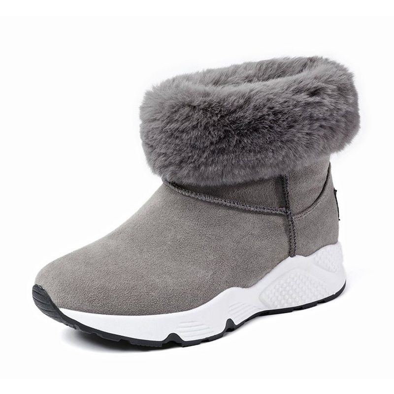 Women ankle boots high quality flock snow boots 2017 new arrivals warm plush winter shoes fashion turned-over women boots
