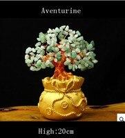 Szczęście drzewo Święto prezenty naturalne Awenturyn quartz crystal gem money tree w dla bogactwo pieniądze bay