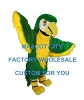 Зеленый попугай талисман взрослый размер Mascotte костюм маскота костюм вечерние Карнавальный костюм для косплея птицы нарядное платье SW575