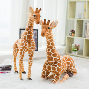 Image 1 - Enorme vita reale giraffa giocattoli di peluche bambole di peluche carine simulazione morbida giraffa bambola regalo di compleanno giocattolo per bambini arredamento camera da letto