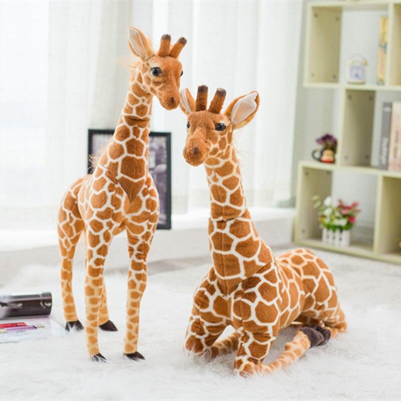 Grande vida real girafa brinquedos de pelúcia, bonito, animal de pelúcia, bonecas, simulação macia, girafa, presente de aniversário, crianças, brinquedo, decoração do quarto