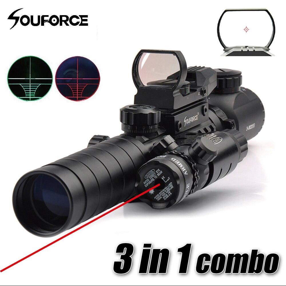 3 в 1 Combo 3-9X32EG прицел с длинными диапазон Red Dot лазерный и красный/зеленый точка голографический Коллиматорный прицел для винтовки и airsoft