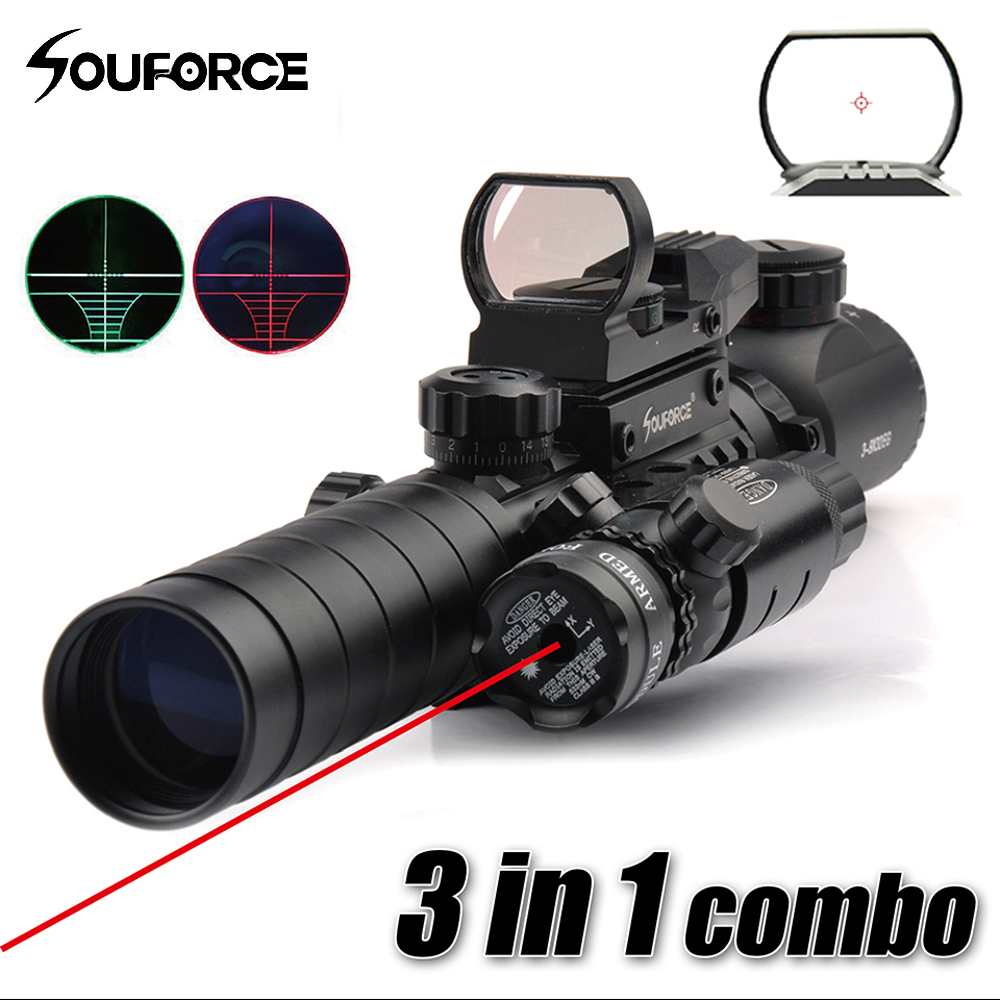 3 in 1 Combo 3-9X32EG Riflescope with Long Range Red Dot Laser and Red/Green Dot Holographic Reflex Sight for Rifle and Airsoft element ex276 peq15 battery case military high precision red dot laser integrated with led flashlight red laser and ir lens