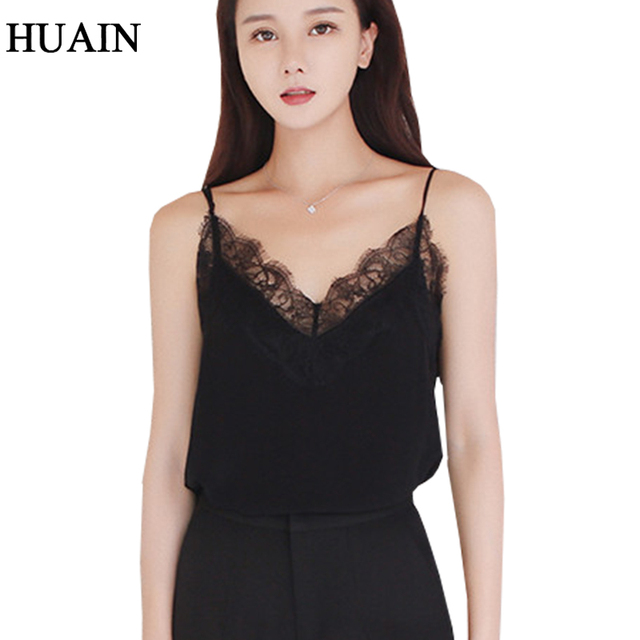 6f3402ecaf Lace Top Camis Sexy Tank Top Women Camisole Ladies 2018 New Solid Colour V-Neck  Sleeveless Shirt Backless Summer Shirt Female