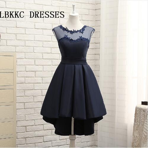 Navy Blue Bridesmaid Dress Short Wedding Party Dress Sleeveless