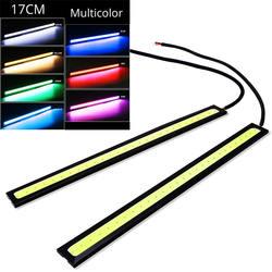 1 шт. 17 см универсальные дневные бег свет автомобиля COB DRL светодиодные ленты внешнее освещение авто водонепроницаемые наклейки для