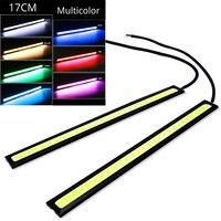 1 Uds. 17cm Luz de circulación diurna Universal coche COB DRL tira de luz LED luces externas Auto impermeable coche estilo lámpara LED DRL|Lámpara de señalización| |  -