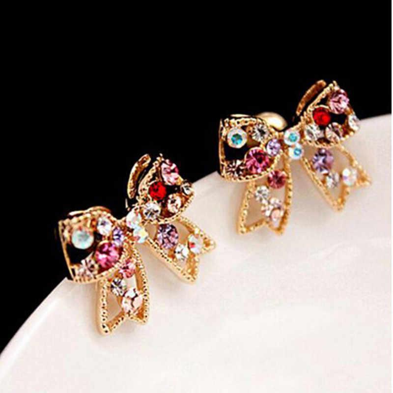 Frauen Dame Mädchen Süße Kristall Bogen Bowknot Stud Ohrringe Für Frauen Mode schmuck 4ED356