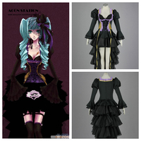 2018 Free Shipping Hatsune Miku Vocaloid Kids Halloween Cosplay Costume Customize for plus size adults and kids