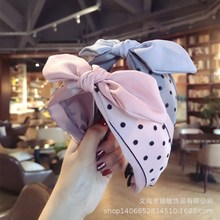 цена на Polk Dot Hand Made Tie  Knot Hair Accessories  For Girls Hair Bows Hairband Rabbit Ear  Hair Band Colorful Headbands For Women