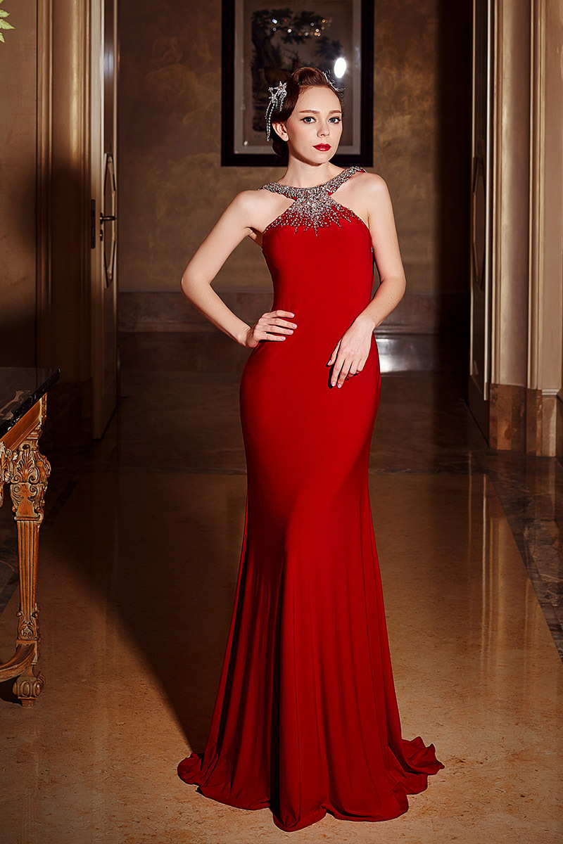 Evening-Dress Beading Elegant-Gown Formal Long Red Backless Mermaid Crystal Vestido-De-Festa