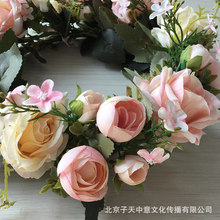 Simulation Rose Wreath Silk Flower Door Hanging Festival Wedding Decoration Pendant Amazon Cross-Border