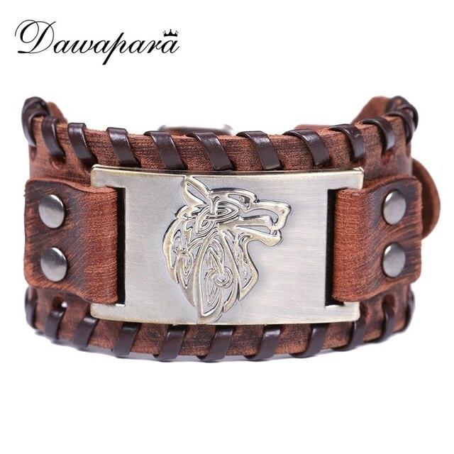 Us 4 99 Dawapara Light Brown Genuine Leather Bracelet Bangles Mens Wide Bracelets Adjule Hand Wave Wolf Head For Men In Charm