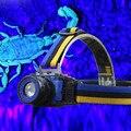 УФ 4 режима СВЕТОДИОДНЫЕ Фары Масштабирование Фара фиолетовый свет Для Скорпион Детектор Открытый Охота SOS Головного Света Лампы ЗАРЯДНОЕ Устройство