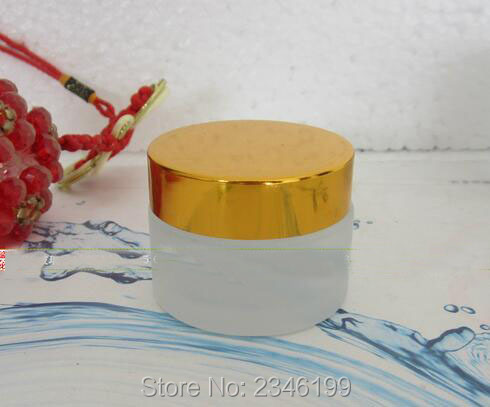 50G 50ML Transparent Frost Glass Jar, Gold Cover Cosmetic Glass Packing Container, Empty Skin Care Cream Bottle, 10pcs/lot high quality black acrylic cream jar gold cap empty cosmetic bottle container jar lotion pump bottle 30g 50g 30ml 50ml 120ml
