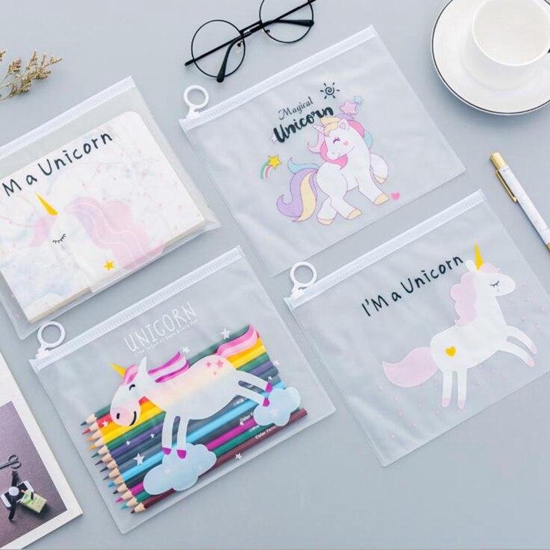 Unicorn Transparent Cosmetic Bags Female Girls Travel Casual Fashion Toiletry Kit Waterproof Portable Makeup Bag Storage Box