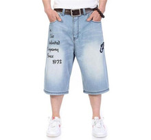 2015 New Men's Loose Skateboard Jean Shorts Summer Hip Hop Knee Length Distressed Jeans Casual Men's Knee Length Wide Leg Jeans