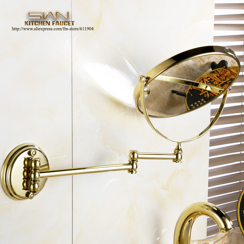 Free Shipping Gold Color Brass  8 Round Magnifying Mirror Double Side 3x to 1x  Bathroom Make Up Mirror Wall Mount 3D71921 large 8 inch fashion high definition desktop makeup mirror 2 face metal bathroom mirror 3x magnifying round pin 360 rotating