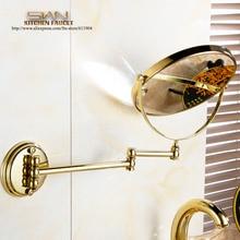 Бесплатная Доставка Золотой Цвет Латунь 8 «круглое Увеличительное Зеркало Двойной Сторона 3x чтобы 1x Ванная Комната, Косметическое Зеркало Настенное Крепление 3D71921