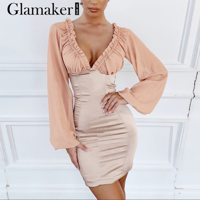Glamaker Sexy satin lantern sleeve beach short dress Women v neck bodycon party mini dress patchwork ruffle elegant summer dress