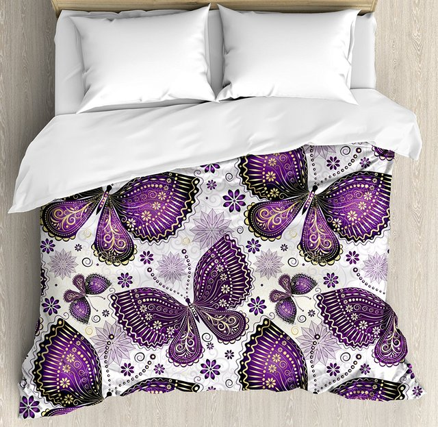 Beau Natural Duvet Cover Set Size Ethnic Asian Butterflies With Paisley Motif On  Wings Flowers Art Print