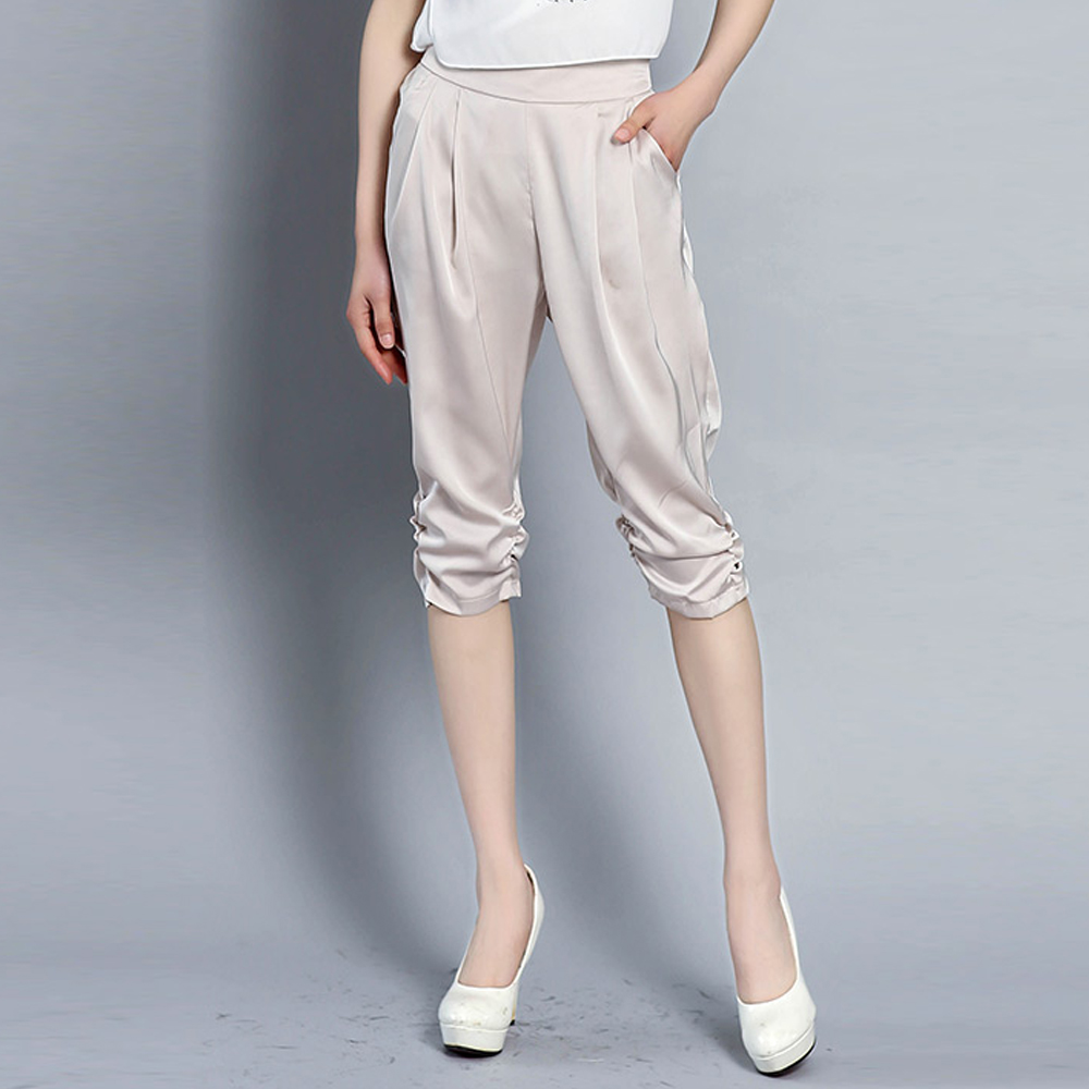 New Summer Plus Size Women Luster Silk   Pants     Capris   Loose Harem   Pants   Ladies Elegant Comfortable Elastic Waist Casual   Pants