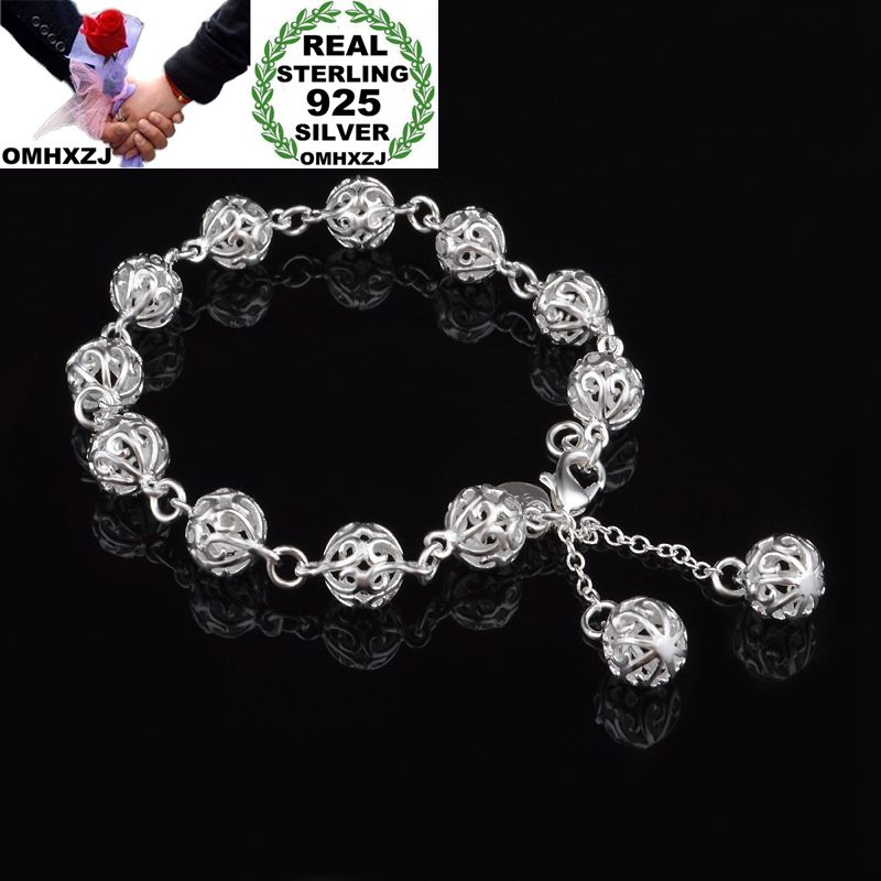 OMHXZJ Wholesale Personality Fashion OL Woman Girl Party Gift Silver Hollow Round Beads Chain 925 Sterling Silver Bracelet BR29OMHXZJ Wholesale Personality Fashion OL Woman Girl Party Gift Silver Hollow Round Beads Chain 925 Sterling Silver Bracelet BR29