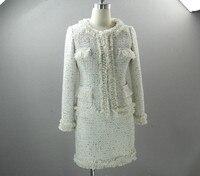 Высокое качество Жемчуг Бисероплетение шерстяного твида пальто + мини юбки комплект из двух предметов осенние женские куртки короткое паль