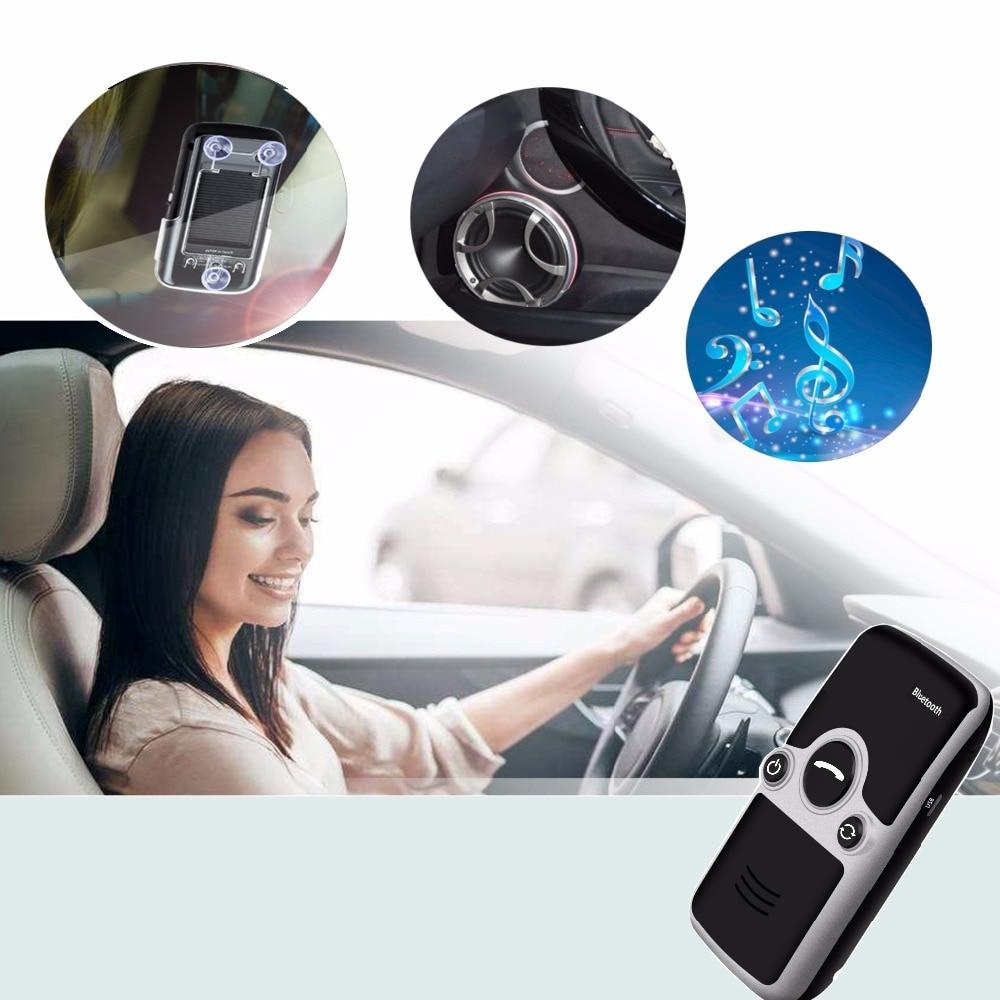 Siparnuo Aux Energia Solar Bluetooth Car Kit Viseira Mãos Livres Speakerphone com USB Bluetooth Handsfree Carkit