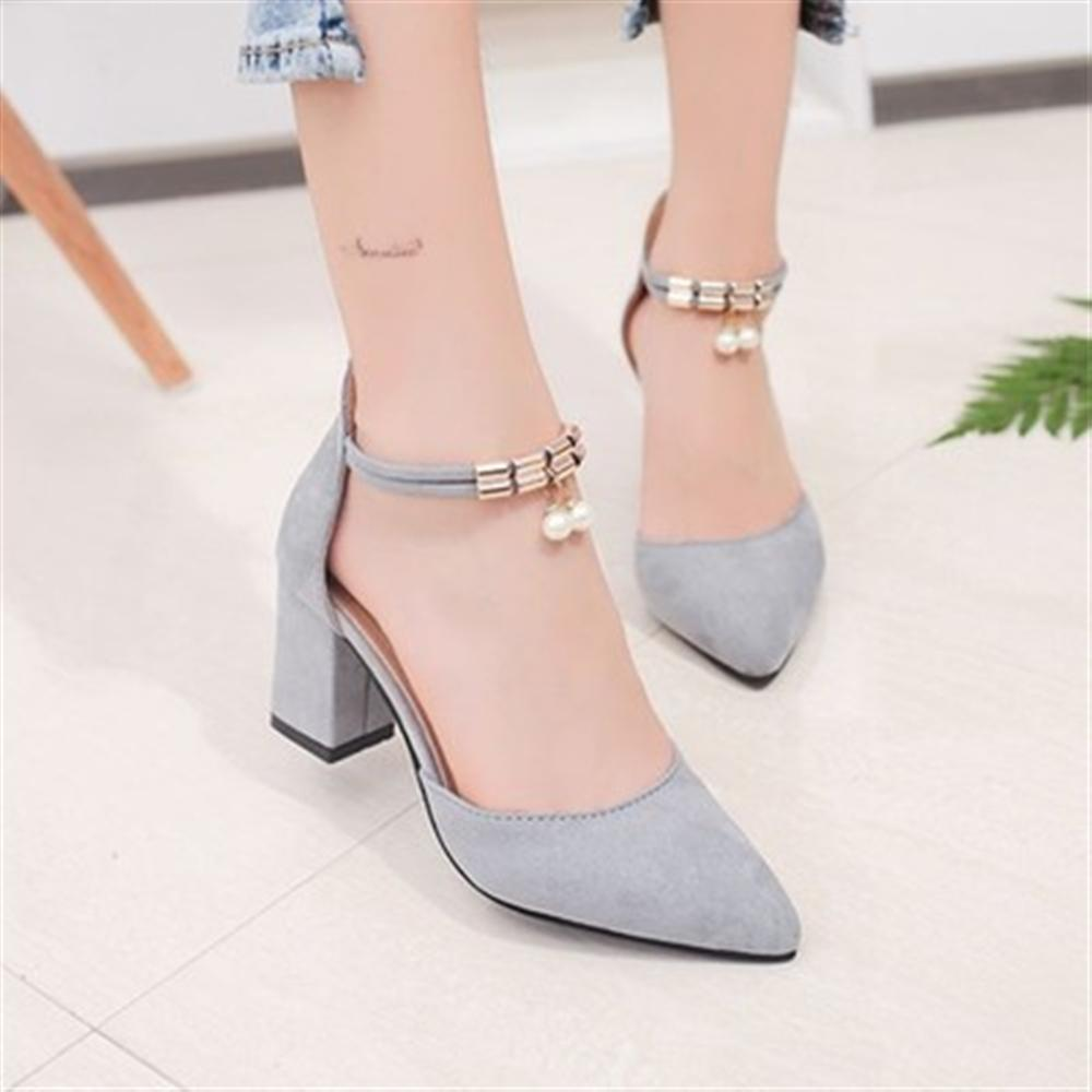 IF FEEL Women Shoes Pointed Toe Pumps Wedding Boat Shoes High Heels Dress Shoes Women 7cm Square Root String Bead Basic Style