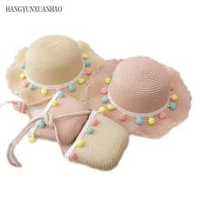 New Summer Children Straw Beauty Floral Hat Baby Sun Hat Girl Summer Cap Beach Visor Hat Straw Bag Two-Piece Sets