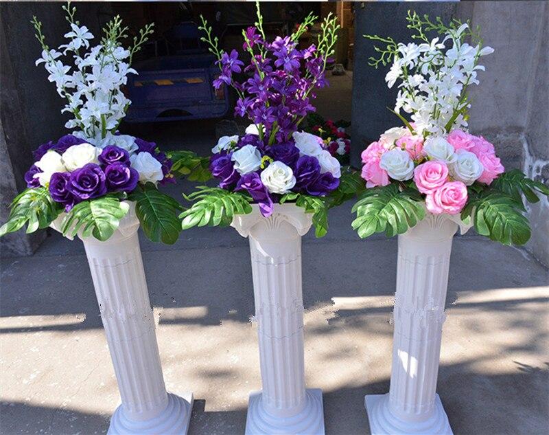 Livraison gratuite colonne romaine blanche avec des ensembles de fleurs de Rose artificielle allée de mariage coureur stade décoration piliers accessoires fournitures - 4