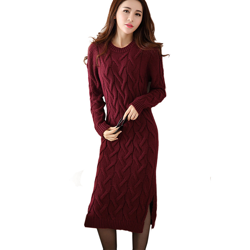 Fashion Autumn Winter Sweater Dress Women Clothes Ladies Long Sleeve Knitted O-neck Casual Dress Autumn Female Party Dresses