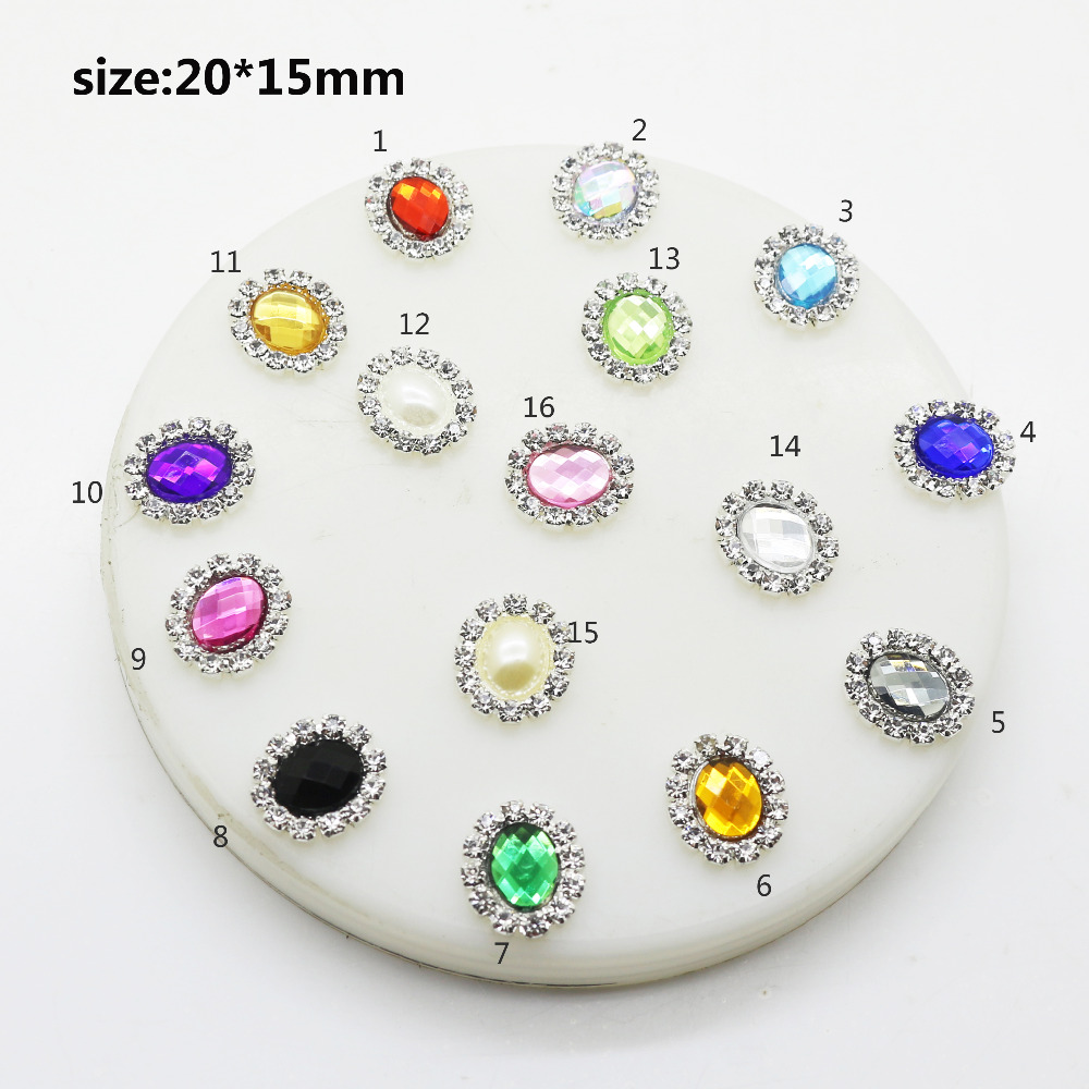 10pcs/Lot 20*15mm Pearl Wedding Diamond Buttons Jewelry Accessory Earrings Jewelry For Women's Small Earring Gifts
